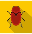 Red beetle icon flat style vector image vector image