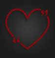 red sequin heart quote love valentine day vector image