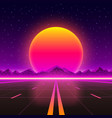 road to infinity at sunset vector image