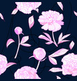 seamless pattern pink peony flowers vector image vector image