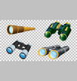 set binoculars on transparent background vector image vector image