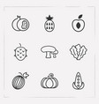 set of fruit icons line style symbols with lettuce vector image