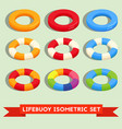 set of isolated lifebuoy or swimming ring vector image vector image