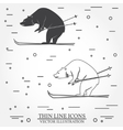 Set of skiing bear icons vector image vector image