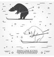 set skiing bear icons vector image