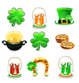 st patricks days icons set on white background vector image vector image