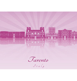 Tarento skyline in purple radiant orchid vector image vector image