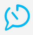time chat icon in blue color with straight line vector image vector image
