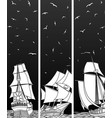 vertical banners of sailing ships with birds vector image