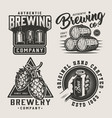 vintage beer monochrome logos set vector image vector image