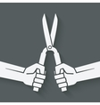 worker hands with shears vector image vector image