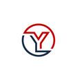 y letter circle line logo icon design vector image