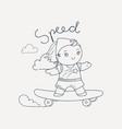 skating girl vector image