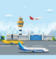 airport building and airplanes vector image