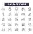 baggage line icons signs set outline vector image vector image
