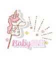 bby shower celebration with unicorn and stars vector image