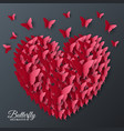 beautiful colorful butterfly heart on valentines vector image