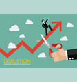big hand cutting growing graph with businessman vector image