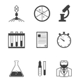Black icons for microbiology vector image