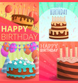 cake happy birthday banner set cartoon style vector image