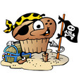 cartoon a happy muffin pirate vector image vector image