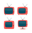cartoon red retro tv icon set vector image