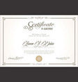 certificate or diploma retro vintage design 2 vector image vector image