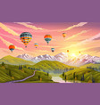 colorful hot air balloons flying over mountain vector image vector image