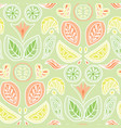 colorful pastel citrus fruit and leaves damask vector image vector image