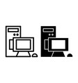 computer line and glyph icon pc vector image vector image