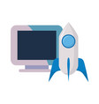 computer rocket on white background vector image