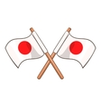 Crossed flags of Japan icon cartoon style