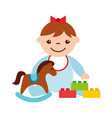 cute baby girl sitting with rocking horse toy kid vector image