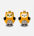 cute bright indian hand drawn owl characters vector image vector image