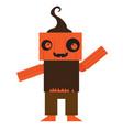 cute halloween pumpkin monster cartoon character vector image vector image