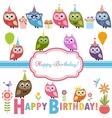 Cute owlets and owls on Birthday party vector image