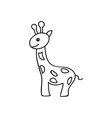 Doodle giraffe animal icon vector image
