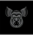 engraving stylized silver pig portrait on black vector image vector image