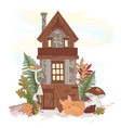 fairy house autumn fall forest nature illus vector image vector image