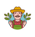 farmer symbol farm agriculture healthy food vector image vector image