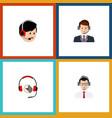 Flat icon hotline set of operator help headphone vector image