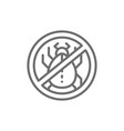 forbidden sign with dust mites allergy line icon vector image