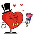 Gentleman Heart Holding Roses vector image vector image