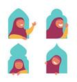 girl moslem flat character peeping in window vector image vector image