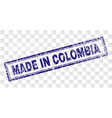 grunge made in colombia rectangle stamp vector image vector image