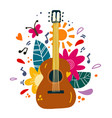 guitar flat hand drawn vector image vector image