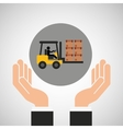 hand delivery service forklift truck boxes graphic vector image vector image