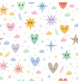 hand drawn seamless pattern with stars hearts and vector image vector image