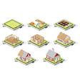 isometric house construction phases isolated vector image