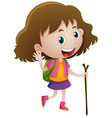 little girl with wooden stick and backpack vector image vector image